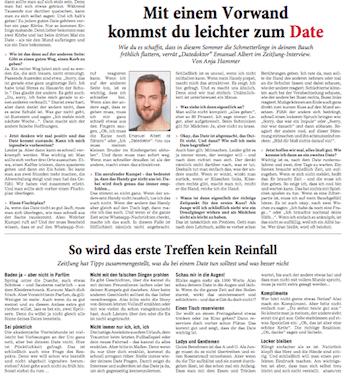 Zeitungsausschnitt: Date Doktor in der Rhein-Neckar-Zeitung zum Thema Dating