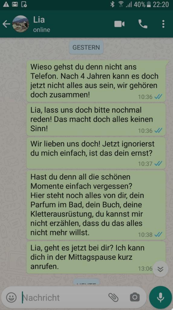 WhatsApp Beispiel für Ex zurückgewinnen
